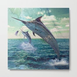 Catch a Marlin if You Can Metal Print