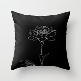 Rose line drawing - Lorna Black Throw Pillow