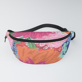 Pretty Colorful Big Flowers Hand Paint Design Fanny Pack
