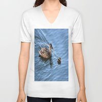 swimming V-neck T-shirts featuring Swimming Lesson by Judy Palkimas