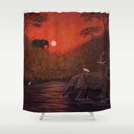 Elephants at the Waterhole Shower Curtain