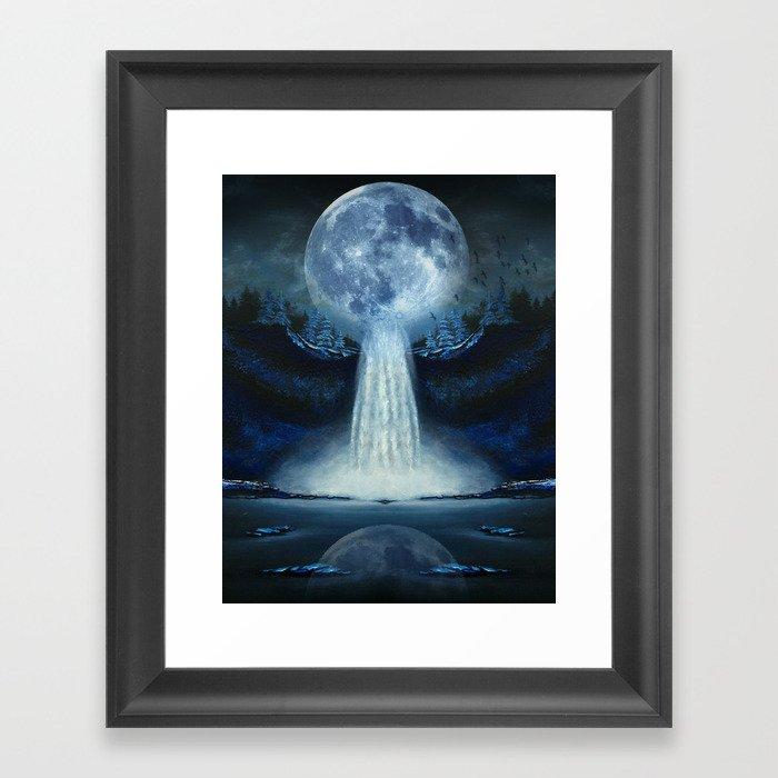 waterfall moon Framed Art Print