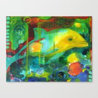 dolphin Canvas Prints featuring Dolphin by Silke Powers