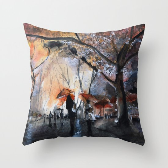 Watercolor painting - Autumn rain - Throw Pillow