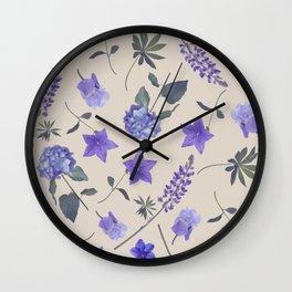 seamless   pattern of blue flowers . Endless texture Wall Clock