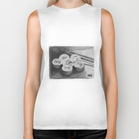 sushi Biker Tanks featuring Sushi by DRAWCITY
