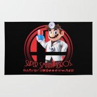 mario bros Area & Throw Rugs featuring Dr. Mario - Super Smash Bros. by Donkey Inferno