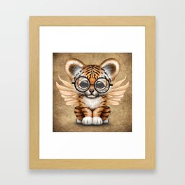 Tiger Cub with Fairy Wings Wearing Glasses Framed Art Print