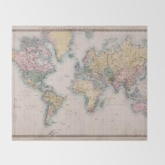 World Map 1860 Throw Blanket