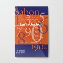 Sabon Typography Poster Metal Print