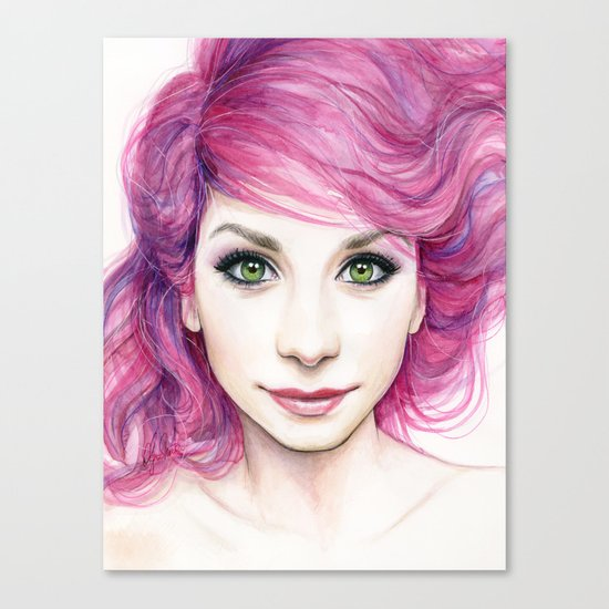Pink Hair Green Eyes Beautiful Girl Canvas Print