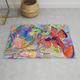 Mandarin Fishes in love Rug