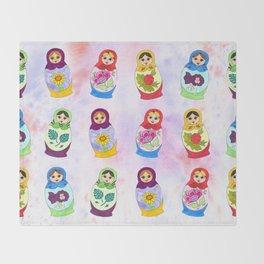 Adorable Russian Dolls Throw Blanket