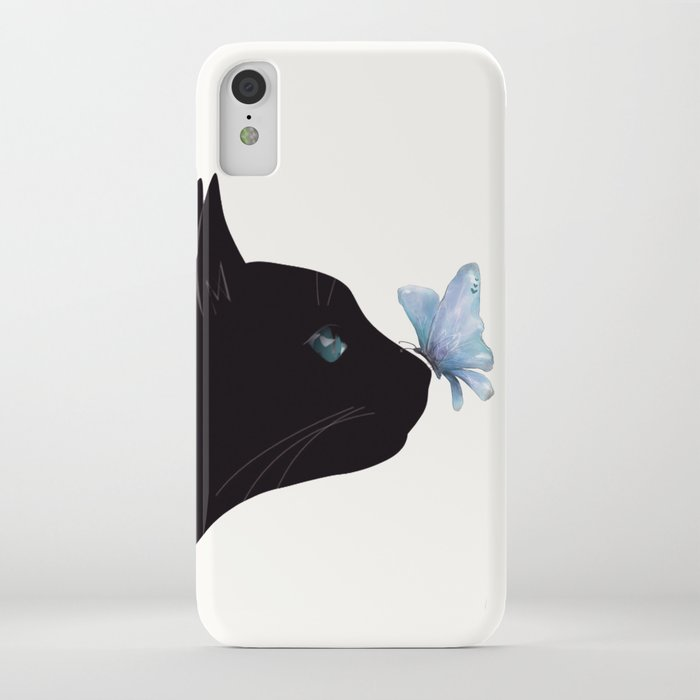 Cat and Butterfly iPhone Case