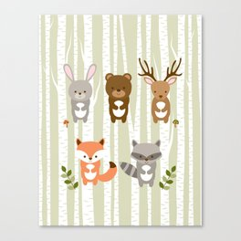 Cute Woodland Forest Animals Canvas Print
