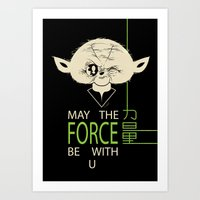 Starwars Yoda - May The Force Be With U Art Print