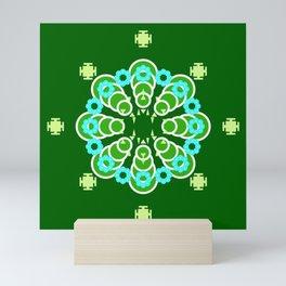 Eight point Mandala, Dark Jade Green and Aqua Mini Art Print