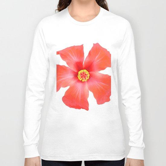 Tropical Hibiscus Flower Vector Long Sleeve T-shirt