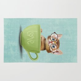 Kitten with glasses Rug