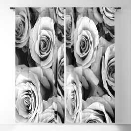 Black and White Roses Blackout Curtain