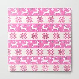 Watercolor Fair Isle in Pink Metal Print