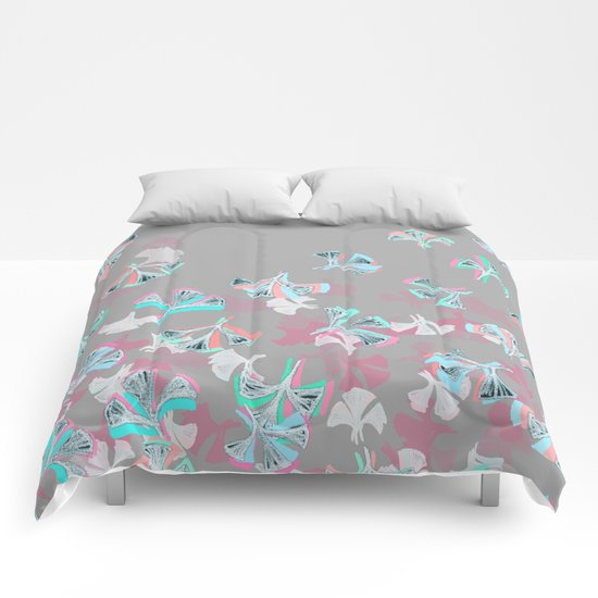 Flight - abstract in pink, grey, white & aqua Comforters
