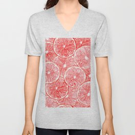 Watercolor grapefruit slices pattern Unisex V-Neck