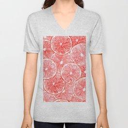 Watercolor grapefruit slices pattern Unisex V-Neck