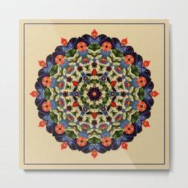 Flower and Fruit Collage Mandala Metal Print
