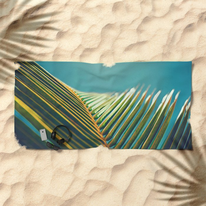 Palm Leaves in the Sun Beach Towel