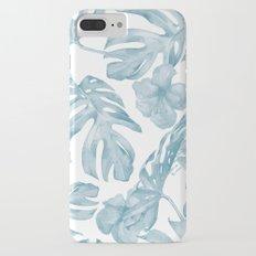 Gorgeous Blue Tropical Leaves + Flowers iPhone 8 Plus Slim Case