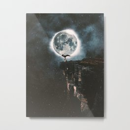 Yoga Under The Moon Light Metal Print