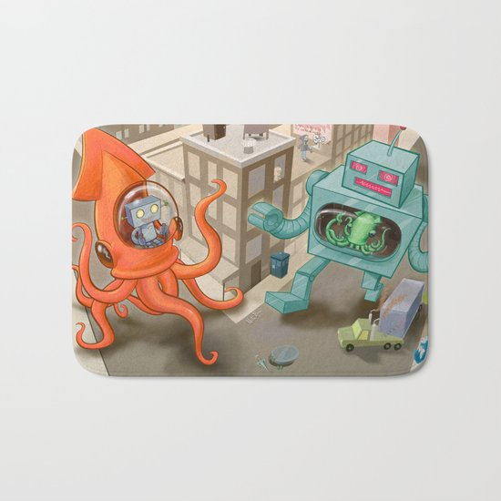 Squid vs Robot Bath Mat