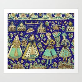 A Qajar moulded polychrome pottery tile, Persia, 19th century, by Adam Asar, No 18d Art Print
