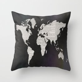 Newsprint World Map Throw Pillow