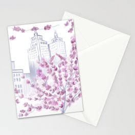 Cherry Blossom Tree Spring in New York City NYC Gathering of Lines Stationery Cards