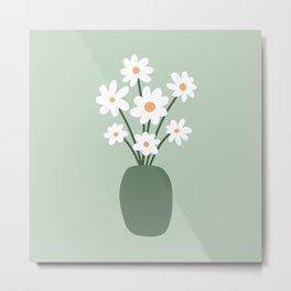 Daisies in Vase (sage green) Metal Print