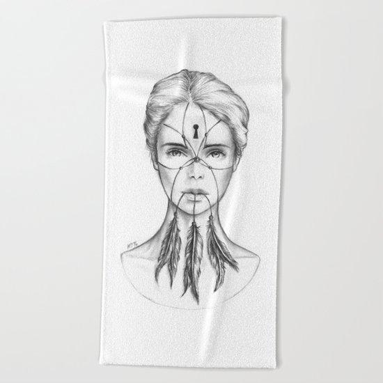 Dreamkeeper (B/W) Beach Towel