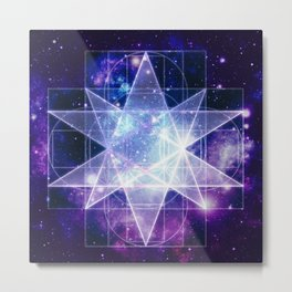 Purple Galaxy Sacred Geometry : Stellated Icoshadron Metal Print
