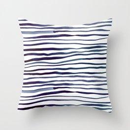 Irregular watercolor lines - indigo Throw Pillow