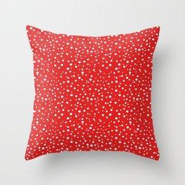 PolkaDots-White on Red Throw Pillow
