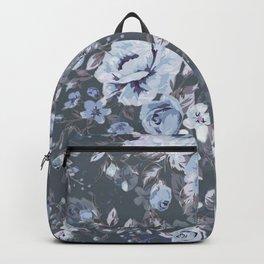 Blue FLORAL roses pattern Backpack