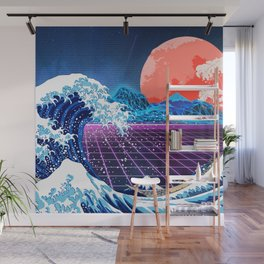Synthwave Space: The Great Wave off Kanagawa #3 Wall Mural
