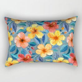 Colorful Watercolor Hibiscus on Grey Blue Rectangular Pillow