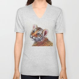 Tiger Cub Watercolor Unisex V-Neck