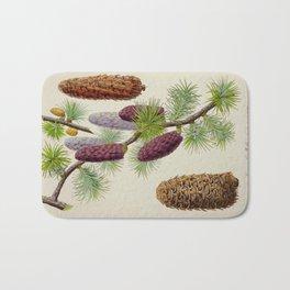 Pine Cone Larix Griffithii Vintage Botanical Floral Flower Plant Scientific Illustration Bath Mat