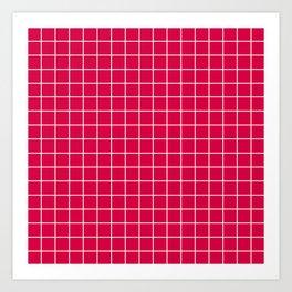 Carmine (M&P) - fuchsia color - White Lines Grid Pattern Art Print