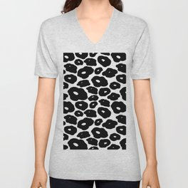 Abstract hand painted black white leopard animal print Unisex V-Neck