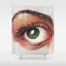 Eyes girl are looking something Shower Curtain
