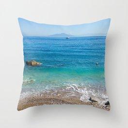 Capri Sea and Vesuvius in background Throw Pillow